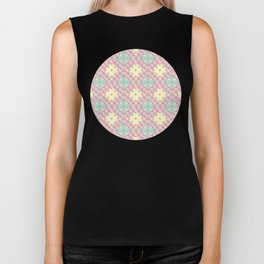 Polka Dot Patchwork Pattern in Green, Pink & Yellow Biker Tank
