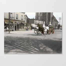 Vancouver Fire Department horsedrawn steam pump on Georgia Street near Richards c.1915 Canvas Print