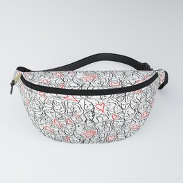 Elios Shirt Faces with Valentine Hearts in Black Outlines with Red Bordered Hearts Fanny Pack