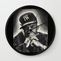 jay z Wall Clocks featuring Jay-Z by Sarah Painter
