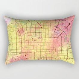 Beijing Street Map Art Watercolor Flower Colors Rectangular Pillow