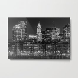 BOSTON Evening Skyline of North End & Financial District | Monochrome Metal Print