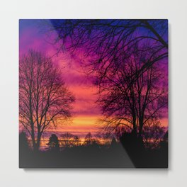 Purple, pink, orange sunrise with silhouette trees Metal Print