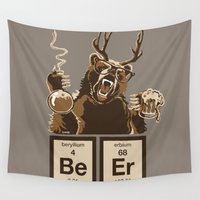 chemistry Wall Tapestries featuring Funny chemistry bear discovered beer by NewSignCreation