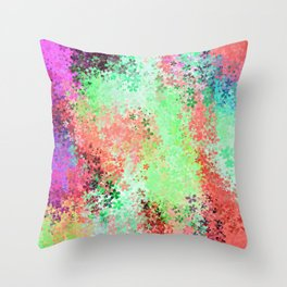 flower pattern abstract background in green pink purple blue Throw Pillow