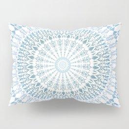 Grayish Blue White Mandala Pillow Sham