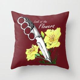 Carol's Flowers_red Throw Pillow