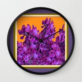 Decorative Purple Hyacinths Puce-Orange Color Art Wall Clock