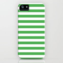 Even Horizontal Stripes, Green and White, M iPhone Case