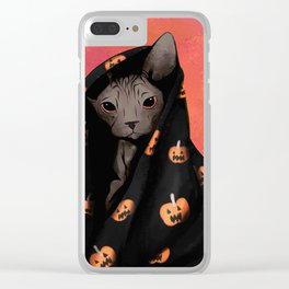 Brown Sphynx Cat Snuggled Up In a Halloween Pumpkin Blanket Clear iPhone Case