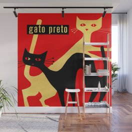Black and White Retro Cats Wall Mural