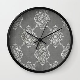 Vintage Damask - Charcoal Wall Clock