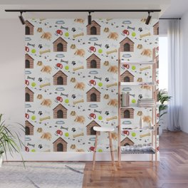Rough Collie Dog Half Drop Repeat Pattern Wall Mural