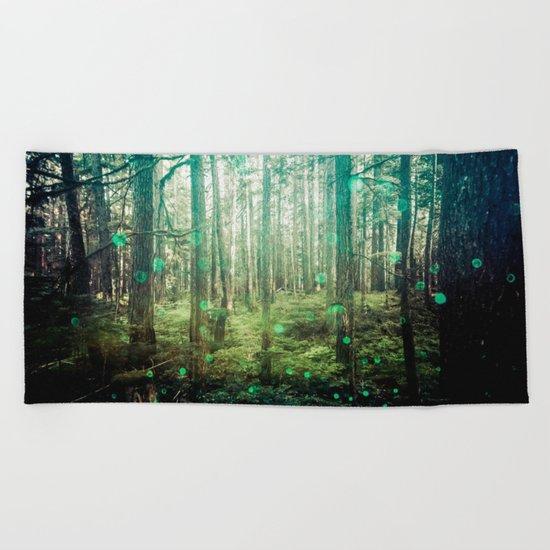 Magical Green Forest Beach Towel