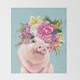 Flower Crown Baby Pig in Blue Throw Blanket