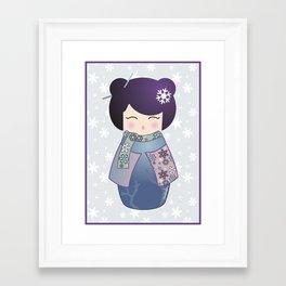 Kokeshi Winter Framed Art Print