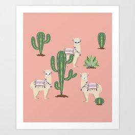 Alpaca with Cacti Art Print