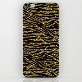 glitter zebra gold iPhone Skin