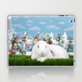 White lop eared bunny in a flower garden Laptop & iPad Skin