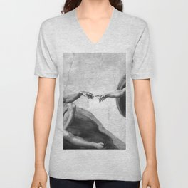 Black and White Creation of Adam Painting by Michelangelo Sistine Chapel Unisex V-Neck