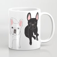frenchie Mugs featuring Frenchie by Tomoko K