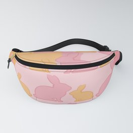 Hunny Bunny - Pastel Pink Yellow Rabbits Design Fanny Pack