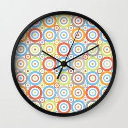 Abstract Circles Repeat Pattern Color Mix & Greys Wall Clock
