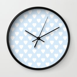 White hearts on light blue background . Wall Clock