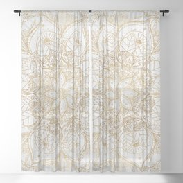 Trendy Gold Floral Mandala Marble Design Sheer Curtain