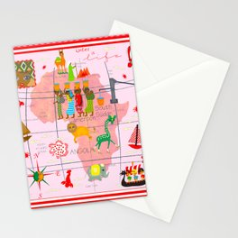 Africa Map Stationery Cards