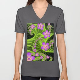 Fractal Cheerful Flowers, Pink With Green Unisex V-Neck