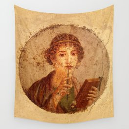FRESCO OF SAPPHO POMPEII Wall Tapestry