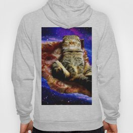 Space Cat Pizza Funny Hoody