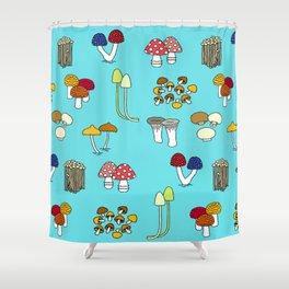 Kinoco Mushroom Families Shower Curtain