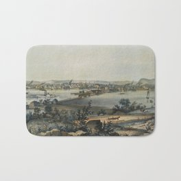 Vintage Pictorial Map of New Haven CT (1849) Bath Mat