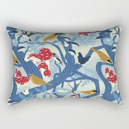 North American Forest Pattern (Blues) Rectangular Pillow