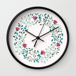 Spring Roses Wreath Pink Blush Wall Clock