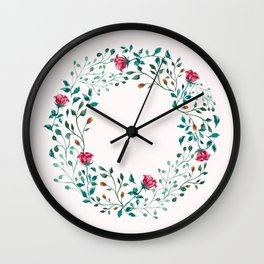 Spring Roses Wreath Pink Blush Wall Clock