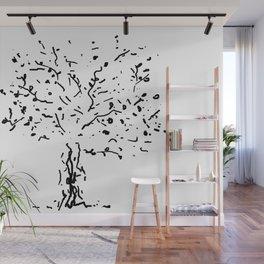Twiggy Tree Ink Line Drawing Wall Mural