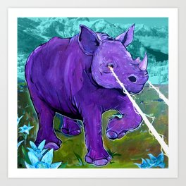 The Hills Are Alive with Laser Rhino - Mountain Rhinoceros and Edelweiss original art Art Print