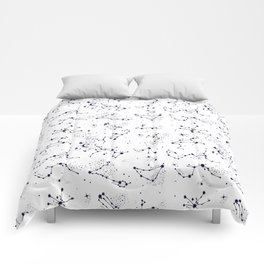 Zodiac Constellations in Moonbeam White Comforters