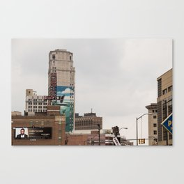 Detroit Music hall and Book Tower Canvas Print