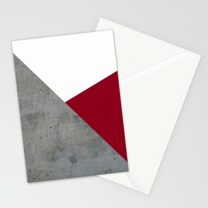 Concrete Burgundy Red White Stationery Cards