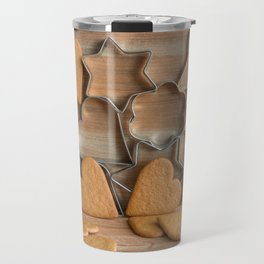Heart shaped ginger cookies and metal cookie cutters on rustic wood Travel Mug