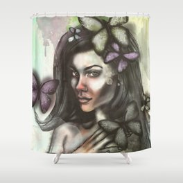 Lady and butterflies Shower Curtain