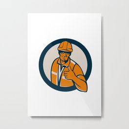 Construction Worker Thumbs Up Circle Retro Metal Print