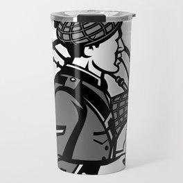 Bagpiper Bagpipes Scotsman Grayscale Retro Travel Mug