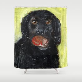 Dog with Red Ball Shower Curtain