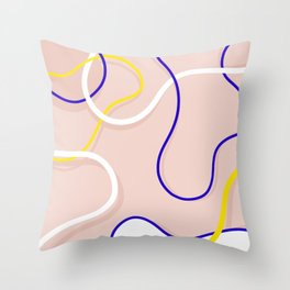Connecting Organic Lines on Blush Throw Pillow