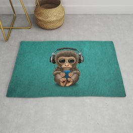 Cute Baby Monkey With Cell Phone Wearing Headphones Blue Rug